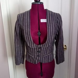 NWT Gray and Tan H&M Striped Blazer/Jacket